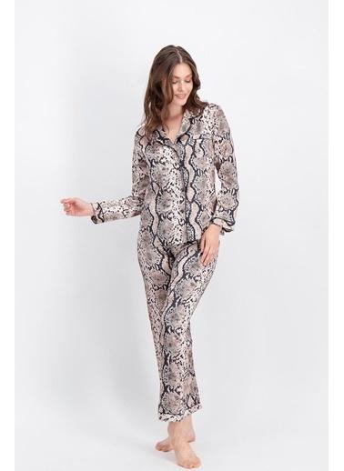 Arnetta Arnetta Yılan Desen Bej Kadın Saten Gömlek Pijama Bej